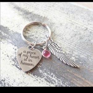 A piece of my heart is in heaven key chain